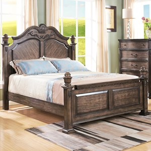 Queen Poster Bed with Arched Headboard and Carved Detailing