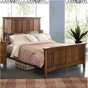 Full Size Panel Bed with Slatted Headboard and Footboard
