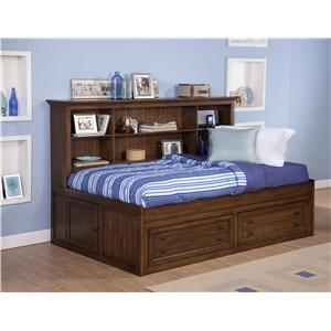 Twin Size Storage Daybed with Bookcase Headboard