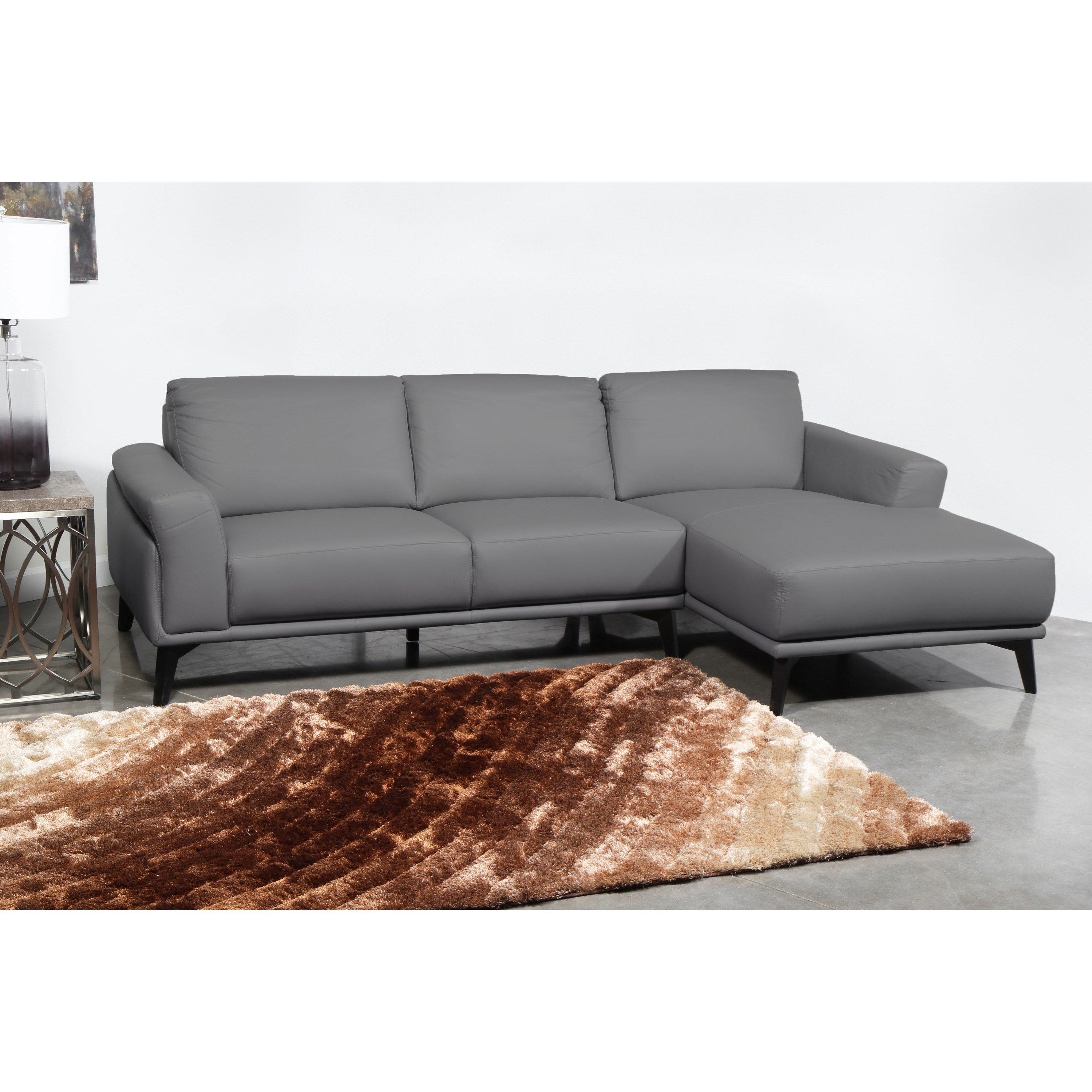 Lucca 100% Leather 3 Seat Chaise Sectional by New Classic at Wilcox Furniture