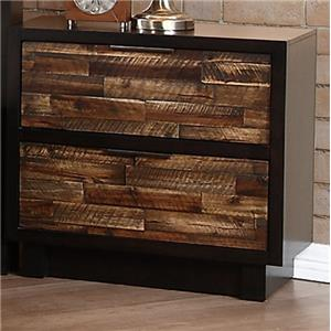 2 Drawer Nightstand with Bronzed Pull