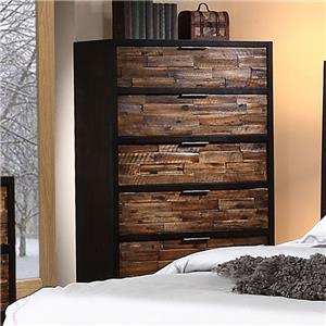 5 Drawer Chest with Rustic Drawer Fronts