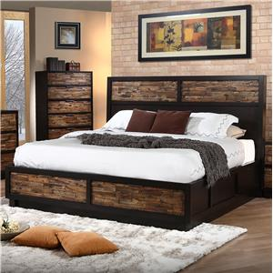 King Low Profile Bed with Footboard Storage