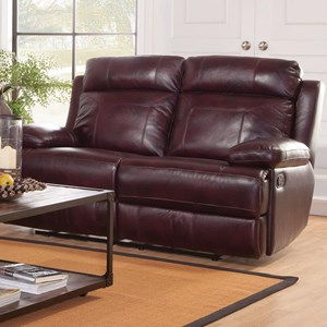 Casual Reclining Loveseat with Padded Headrest