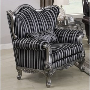 Glam Upholstered Chair with Wing Back