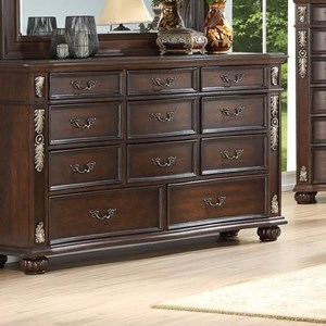 Traditional Triple Dresser with Felt-Lined Top Drawers
