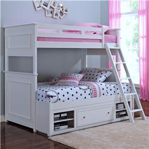 Casual Twin/Twin Bunk Bed with Storage