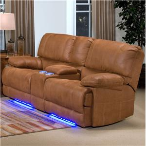 Casual Dual Reclining Love Seat with Lighted Base and Console