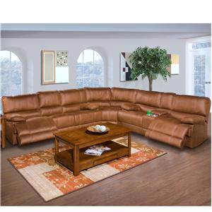 Casual Recliner Sectional with Lighted Love Seat base and Console