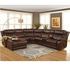 Casual Sectional with Chaise and Storage Console