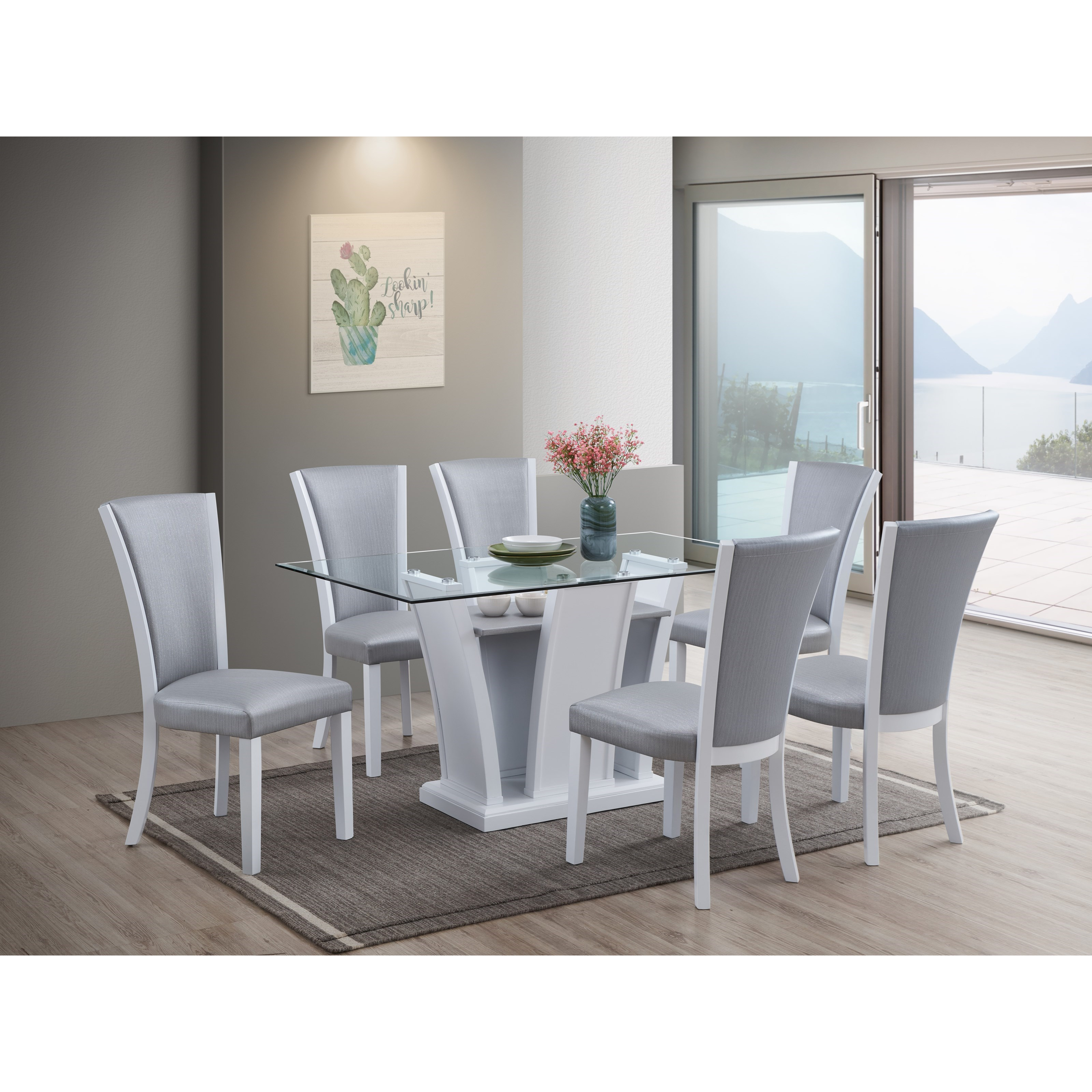 Platina 7-Piece Table and Chair Set by New Classic at H.L. Stephens