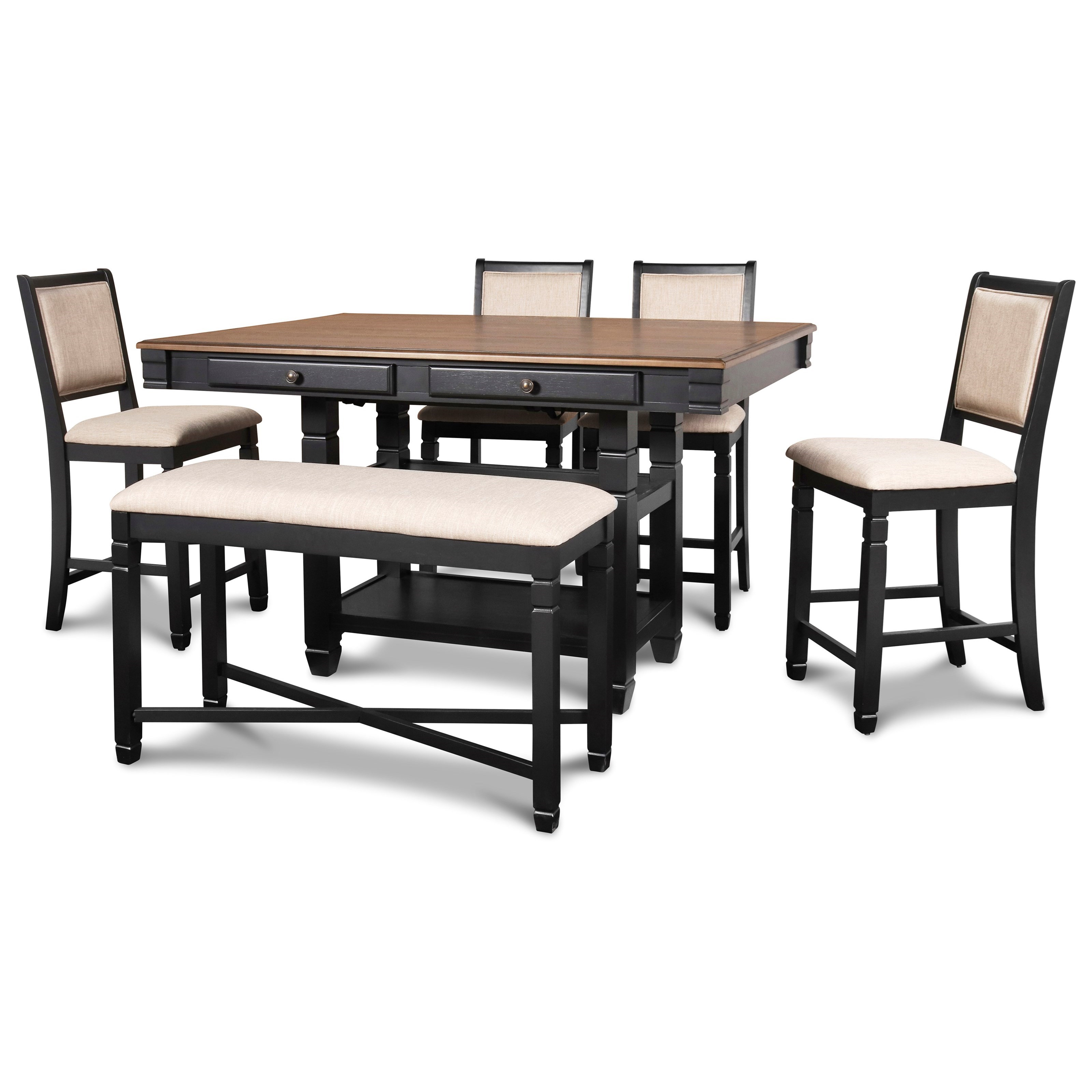 Prairie Point Table & Chair Set with Bench by New Classic at H.L. Stephens