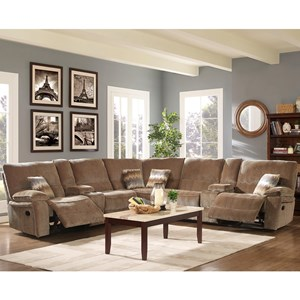 Casual 5 Seat Sectional with Two Storage Consoles