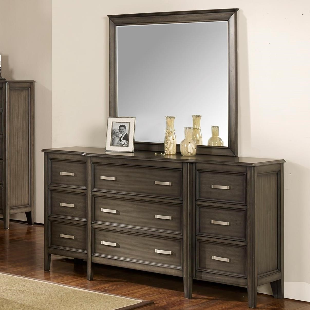 Richfield Smoke Dresser and Mirror by New Classic at Beds N Stuff