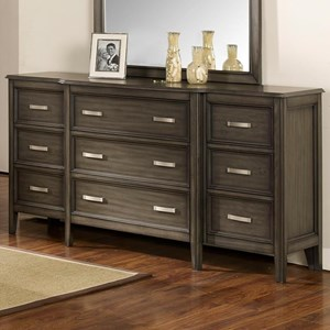9 Drawer Dresser with Velvet Lined Top Drawers
