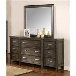 9 Drawer Dresser with Velvet Lined Top Drawers and Mirror
