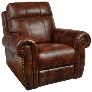 Traditional Power Glider Recliner with Power Footrest and Nail Head Trim