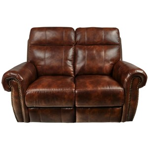 Traditional Power Reclining Loveseat with Power Footrest and Nail Head Trim