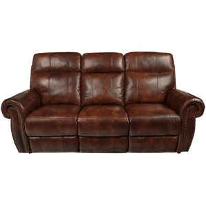 Traditional Power Reclining Sofa with Power Footrest and Nail Head Trim
