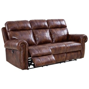 Dual Recliner Sofa with Nailhead Trim