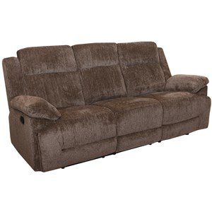 Casual Dual Reclining Sofa with 2 Accent Pillows