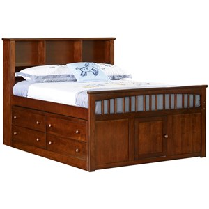 Casual Full Captain's Bed with Footboard Door