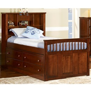 Casual Twin Captain's Bed with Headboard Bookshelf