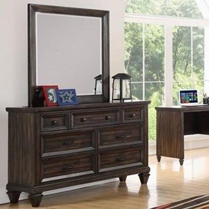 Traditional Seven Drawer Youth Dresser and Mirror Set  with Velvet-Lined Top Drawers