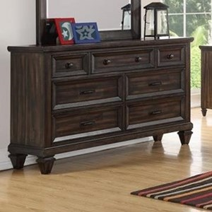 Traditional Youth Bedroom Seven Drawer Dresser with Velvet-Lined Top Drawers