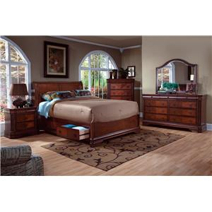 King Storage Bed, Dresser, Mirror & Nighstand