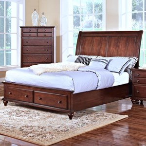 California King Low Profile Storage Bed with Sleigh Style Headboard
