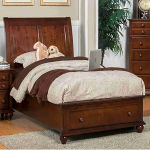 Twin Low Profile Storage Bed with Sleigh Style Headboard
