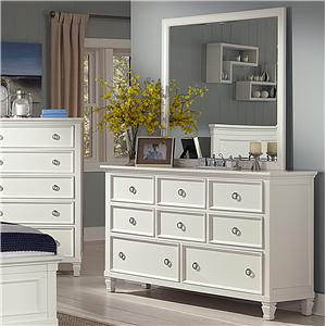 8-Drawer Dresser and Square Mirror Set