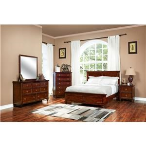 Cherry Full Panel Bed, Dresser, Mirror & Nightstand