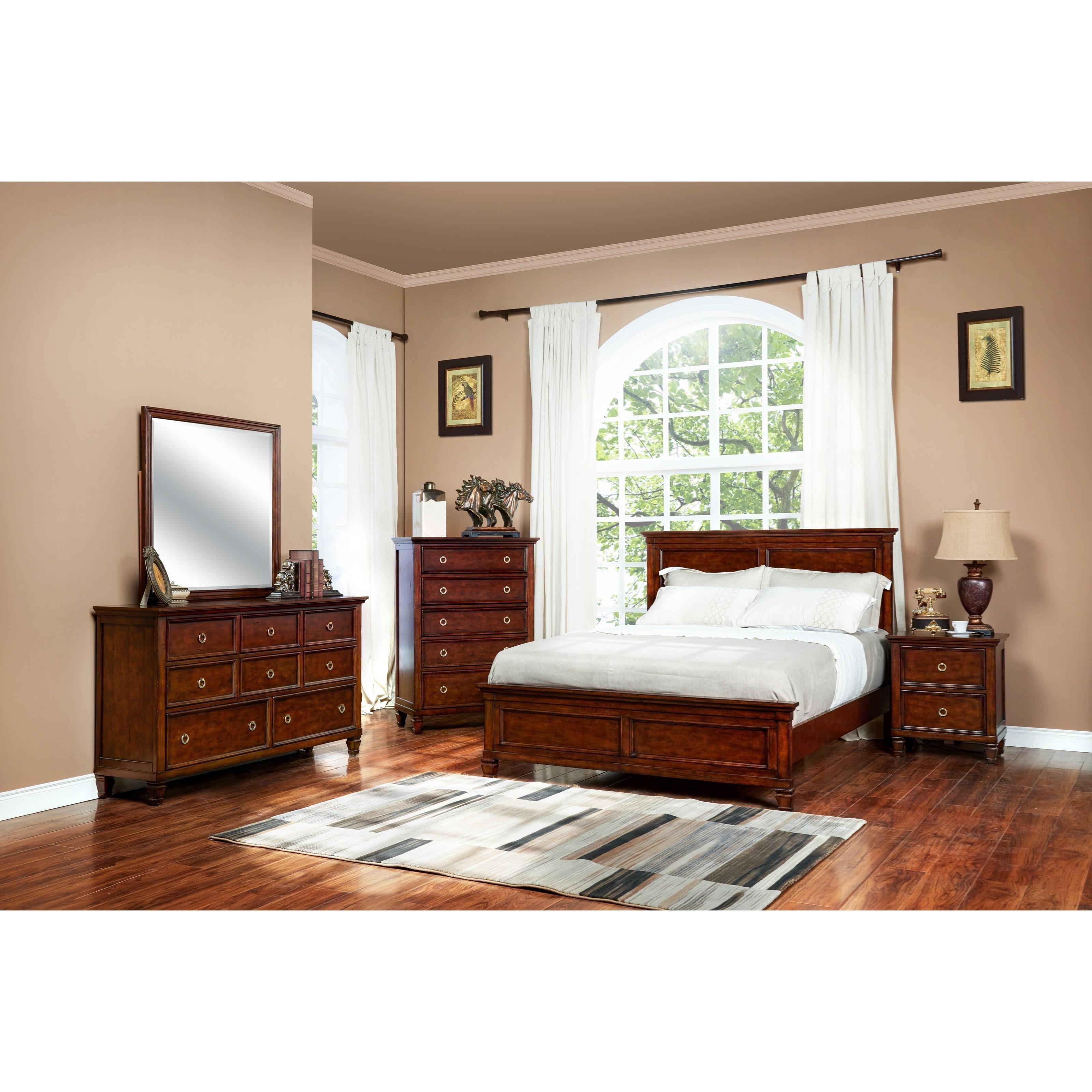 Cherry Queen Panel Bed, Dresser, Mirror & nightstand