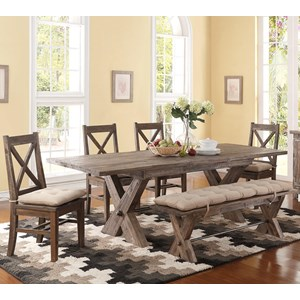 6 Piece Trestle Dining Table and Cushioned Side Chairs and Bench