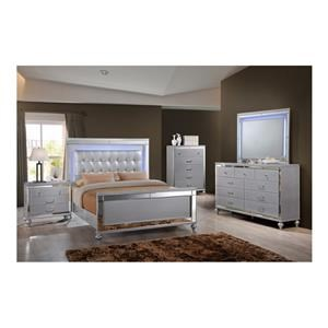 Queen Upholstered Panel Bed, Dresser, Mirror and Nightstand Package