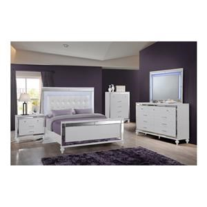 King Upholstered Panel Bed, Dresser, Mirror and Nightstand Package