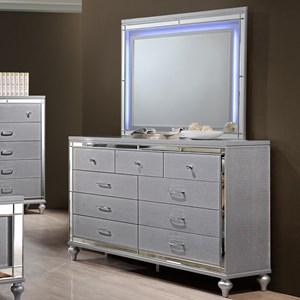 Nine Drawer Dresser and LED Backlit Mirror