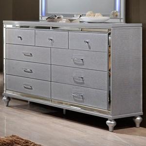 Nine Drawer Dresser with Turned Feet