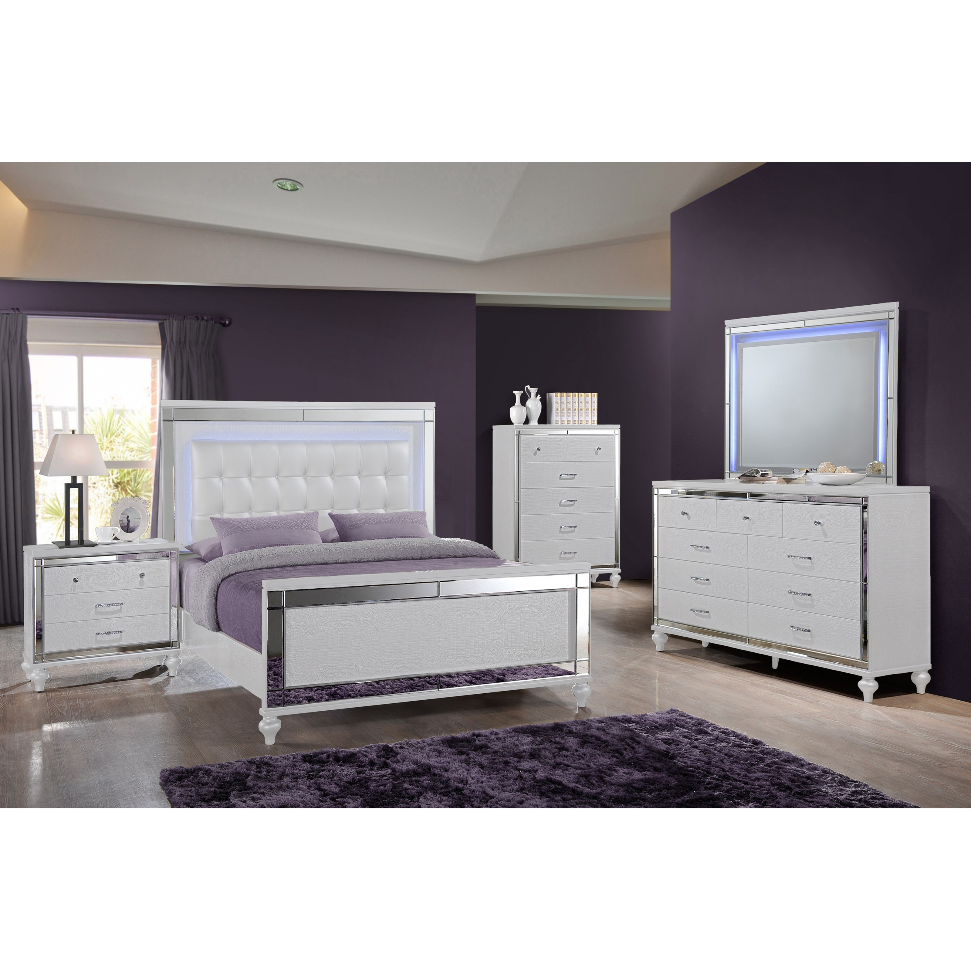 Valentino Queen Bedroom Group by New Classic at Carolina Direct