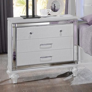 Three Drawer Nightstand with Mirror Accents