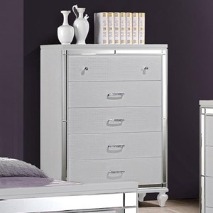 Five Drawer Chest with Mirrored Trim