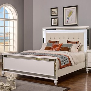 California King Bed with Tufted Upholstered Headboard and LED Lighting