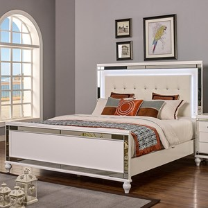 Queen Bed with Tufted Upholstered Headboard and LED Lighting