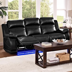 Casual Reclining Sofa with Lighted Base