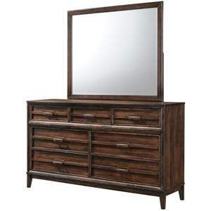 Transitional 7 Drawer Dresser with Felt Lined Top Drawers and Mirror