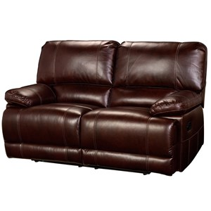 Casual Dual Recliner Loveseat with Pillow Arms