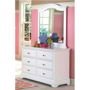 Six Drawer Dresser and Vertical  Mirror