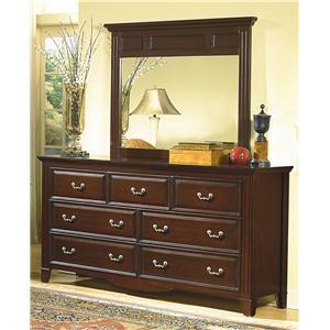Landscape Mirror with Seven Drawer Dresser